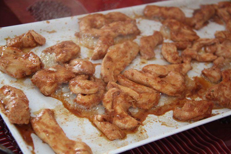 Aiguillettes de poulet  / marinade au miel à la plancha