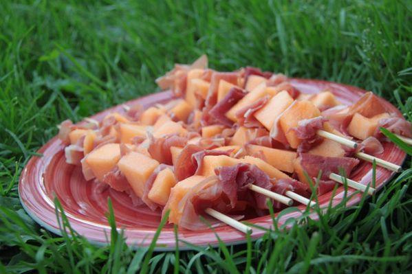 Brochettes melon - jambon de Bayonne