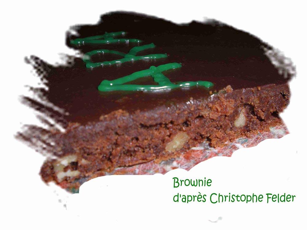 Brownie recouvert de ganache d'après Christophe Felder