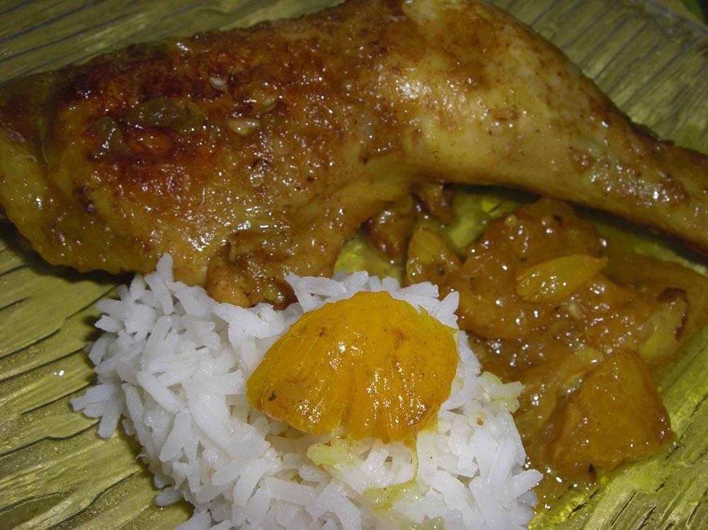 Cuisses de poulet curry - orange