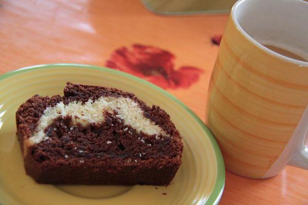 Cake au chocolat coeur noix de coco