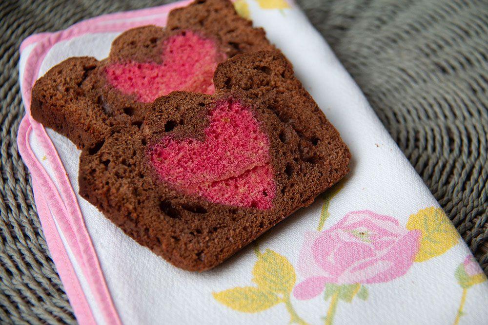 Cake chocolat / Cœur à l'eau de rose