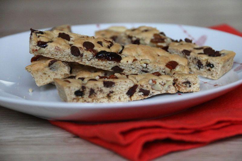 Cookie Sticks aux noix de pécan, chocolat et cranberries