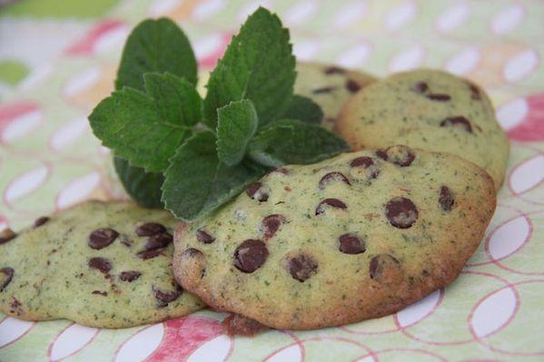 Cookies à la menthe fraîche et aux pépites de chocolat