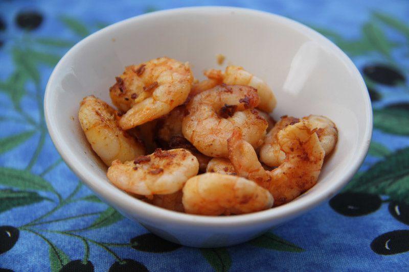 Crevettes à l'ail et au vinaigre à la Plancha