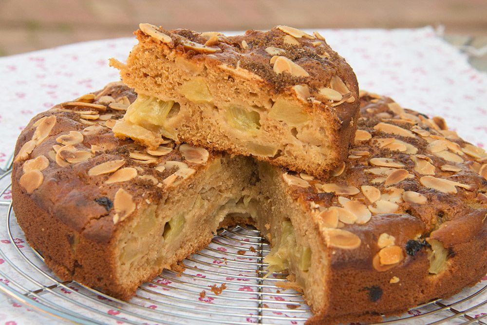 Gâteau moelleux à la pomme et à la rhubarbe