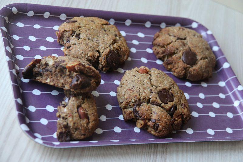 Jumbo Cookies aux amandes et  gros chunks de chocolat noir