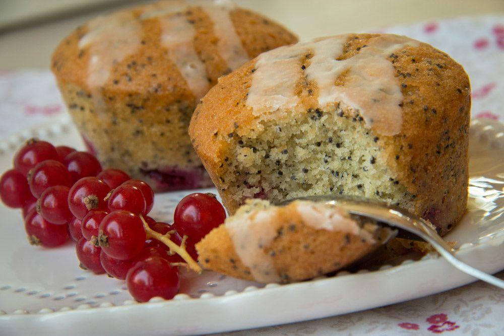 Muffins aux groseilles, pavot et citron