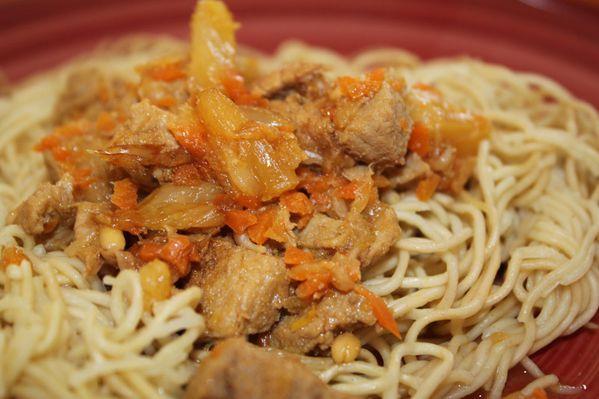 Nouilles chinoises au porc et à l'ananas (recette Thermomix)