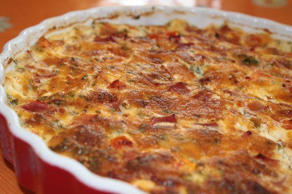 Quiche sans pâte tomates jambon et Mozzarella