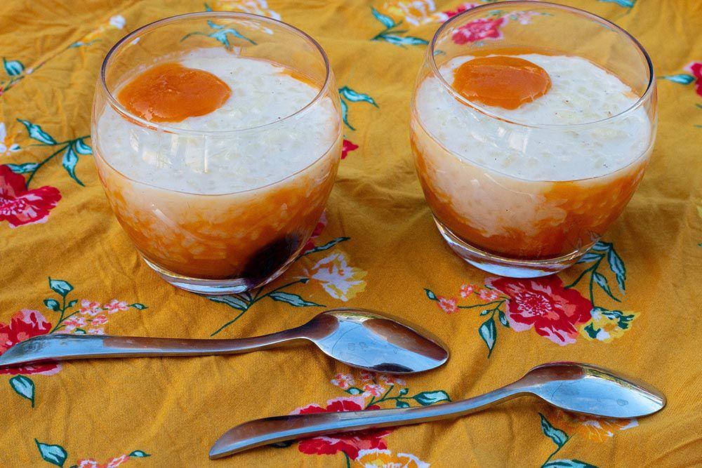 Riz au lait et coulis d'abricots à la fleur d'oranger (au Thermomix ou sans)