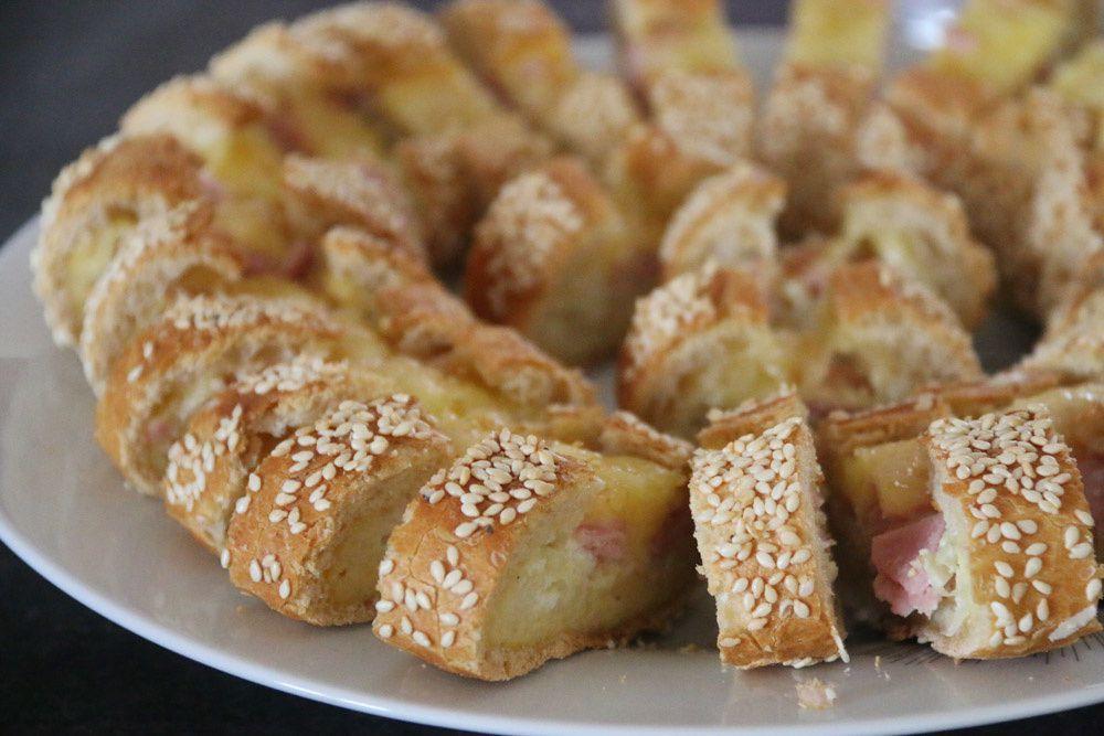 Baguette pour l'apéro œuf - Jambon et Fromage