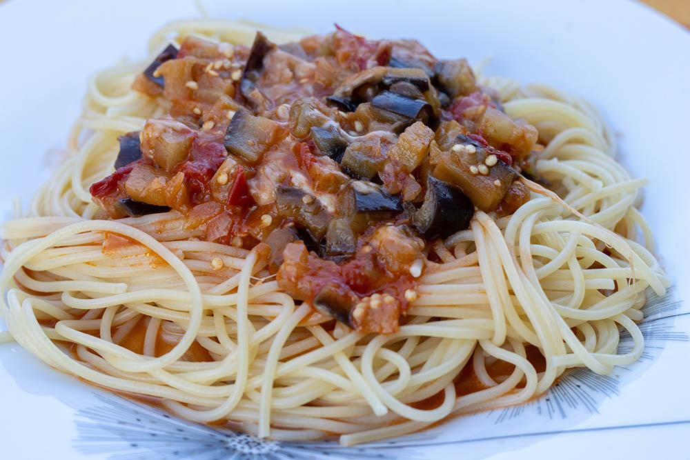 Spaghettis aux aubergines et à la mozzarella (au Cookeo ou sans)