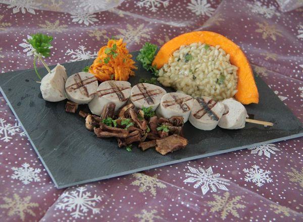 Brochettes de boudin blanc grillées, risotto, potimarron et cèpes (Menu de Noël Lidl à 5 euros)