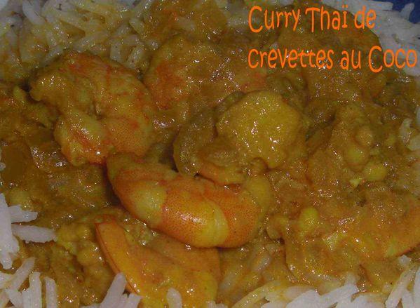 Curry Thaï de crevettes au coco