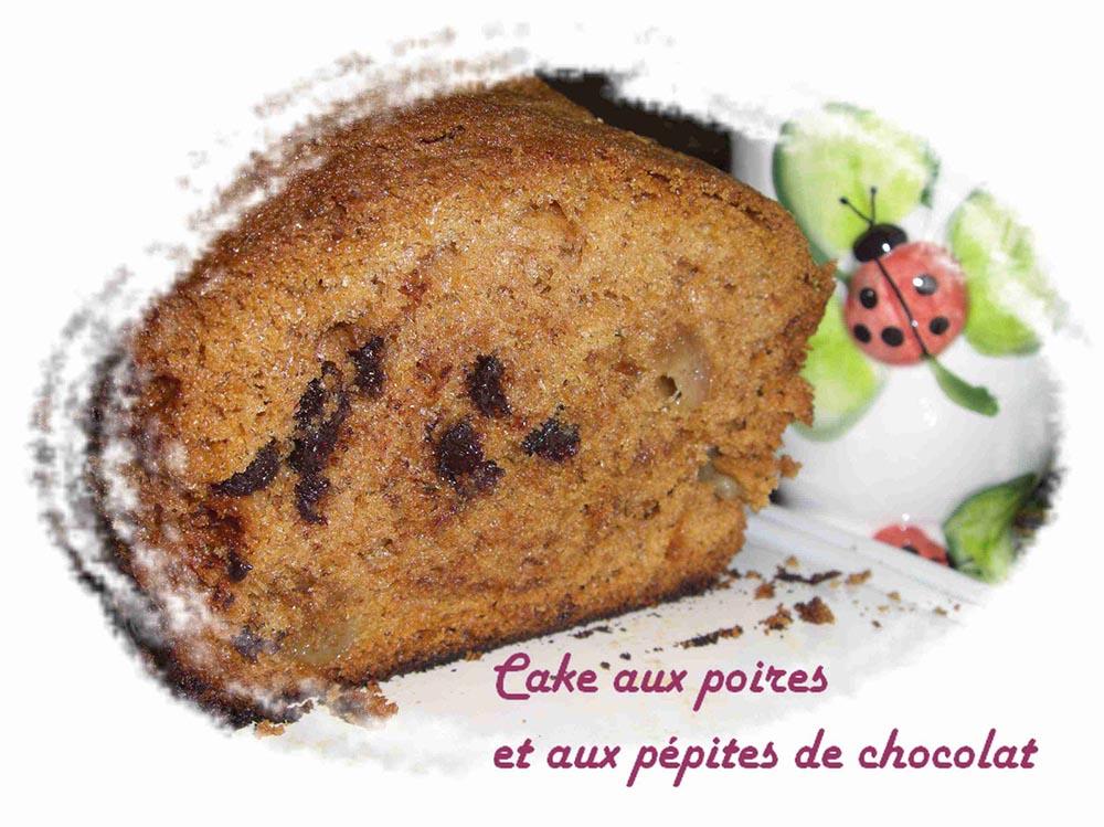 Cake aux poires et aux pépites de chocolat