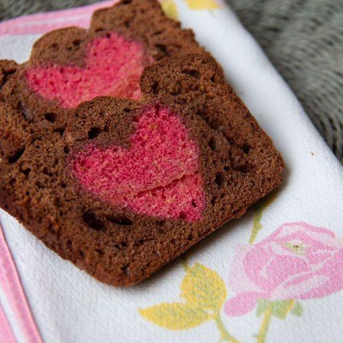 Cake chocolat Coeur à l'eau de rose