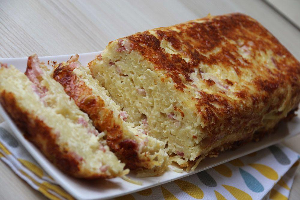 Cake de spaghettis à la carbonara