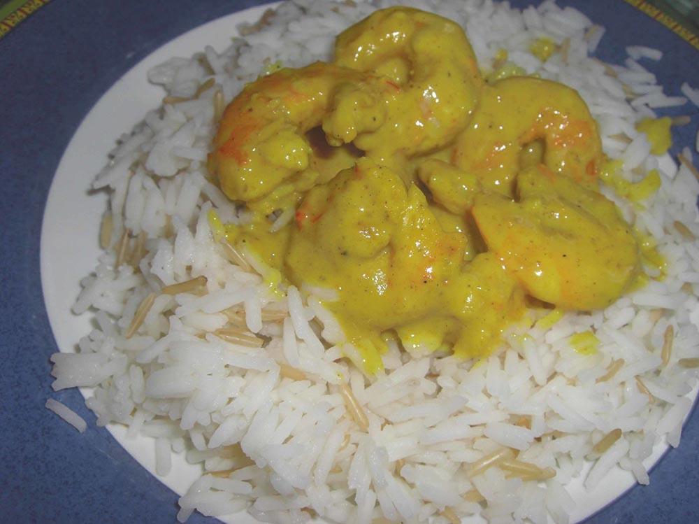 Crevettes au lait de coco et au curry