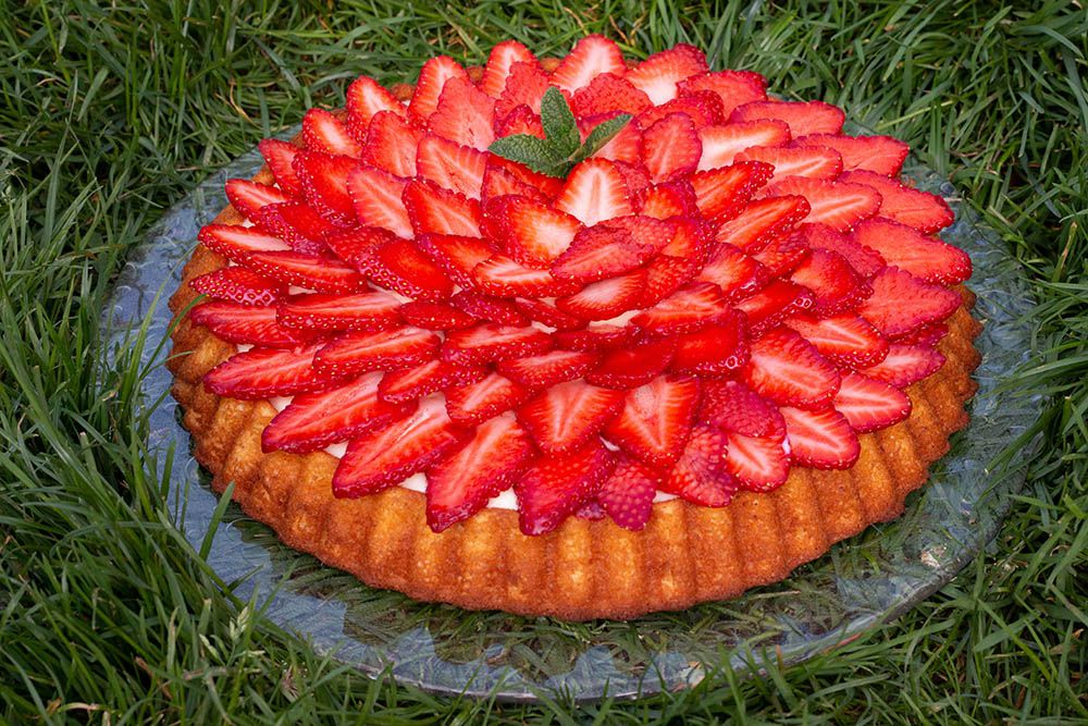 Gâteau aux fraises à la crème pâtissière
