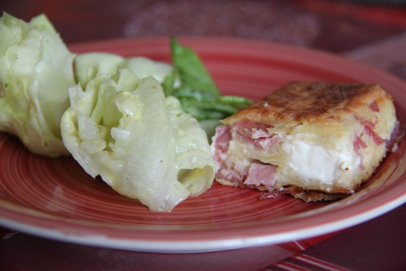Gâteau aux pommes de terre, au jambon et au Kiri