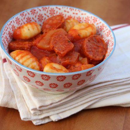 Gnocchis au chorizo et aux courgettes