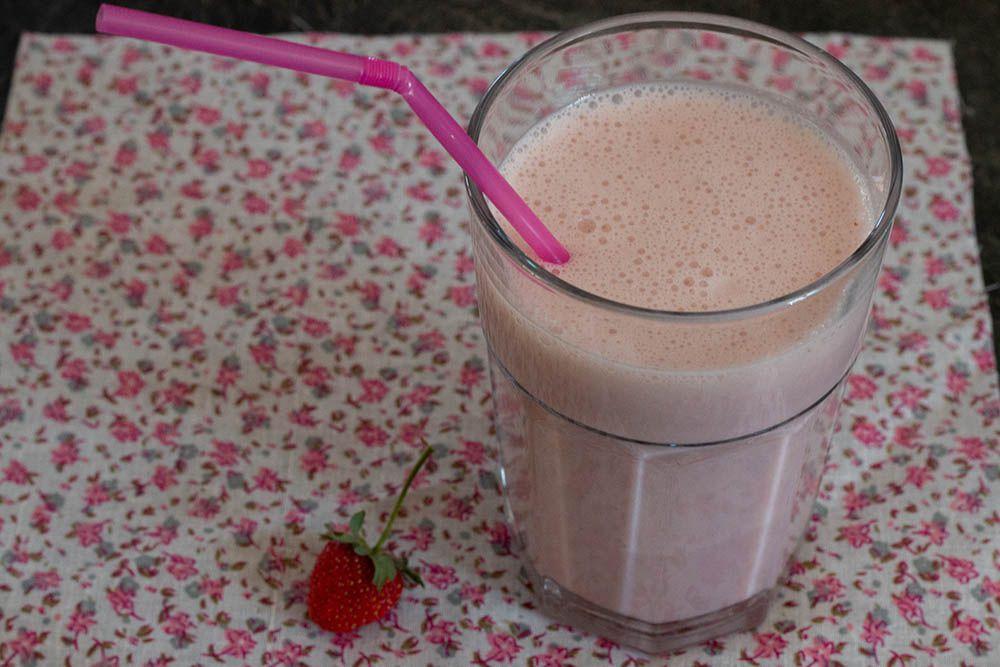 Milkshake fraises et sirop d'érable