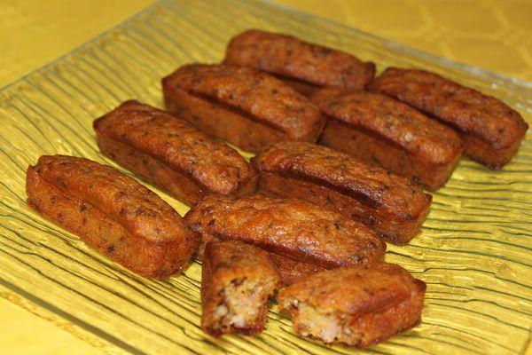 Minicakes au potiron, lardons et aux noix