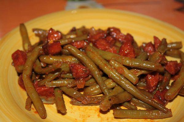 Poêlée de haricots verts au chorizo