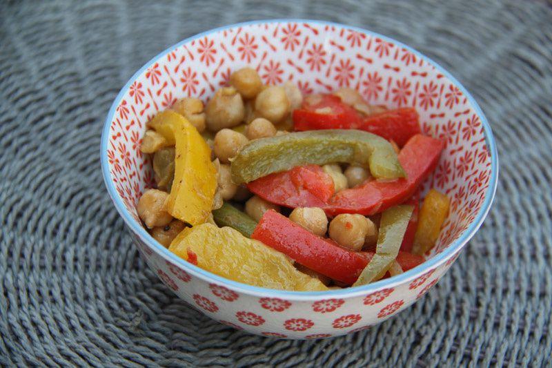 Pois chiches aux poivrons mitonnés