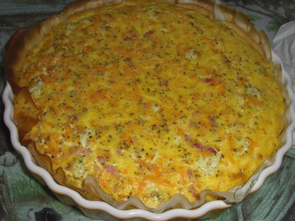 Quiche Boursin, lardons et carottes râpées