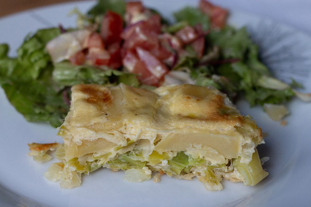 Quiche sans pâte aux pommes de terre et aux poireaux (recette WW Weight Watchers)