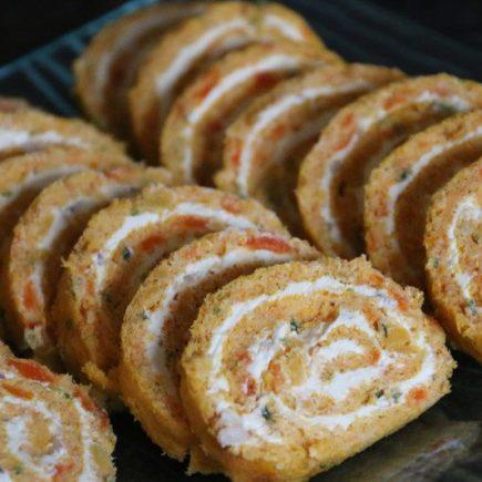 Roulé carottes - St Moret et échalotes pour l'apéro
