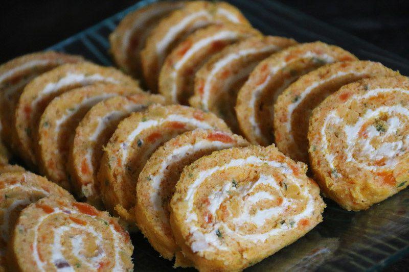 Roulé carottes – St Moret et échalotes pour l'apéro