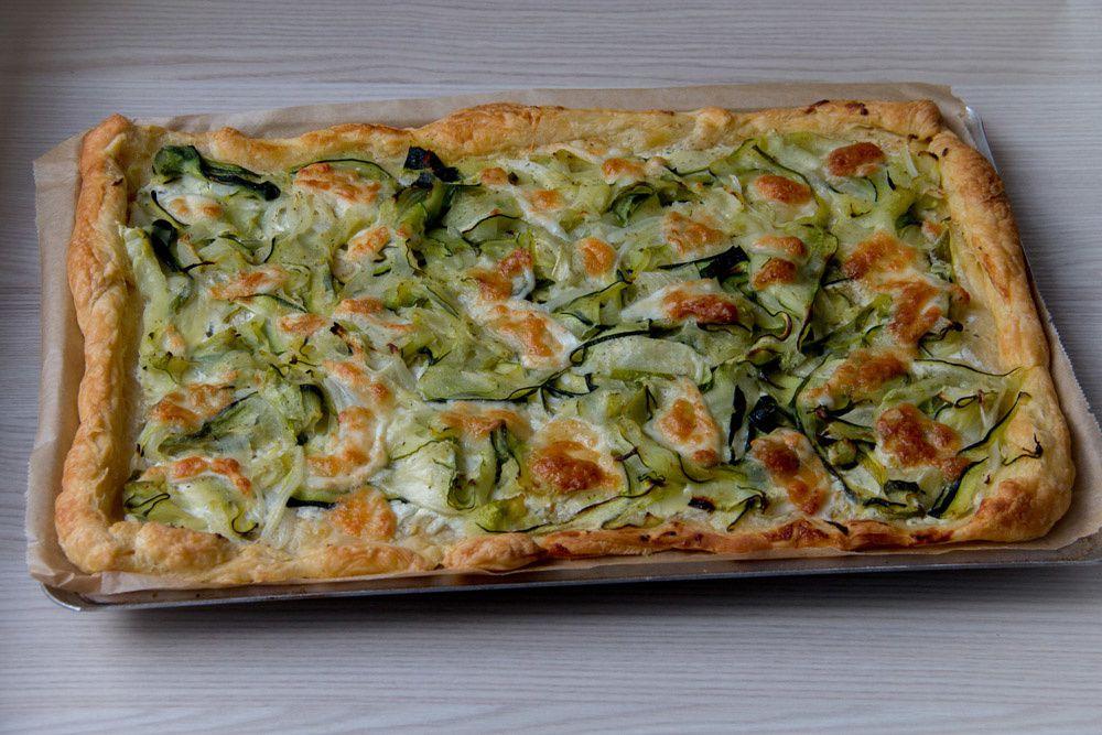 Tarte fine aux courgettes et au fromage ail et fines herbes