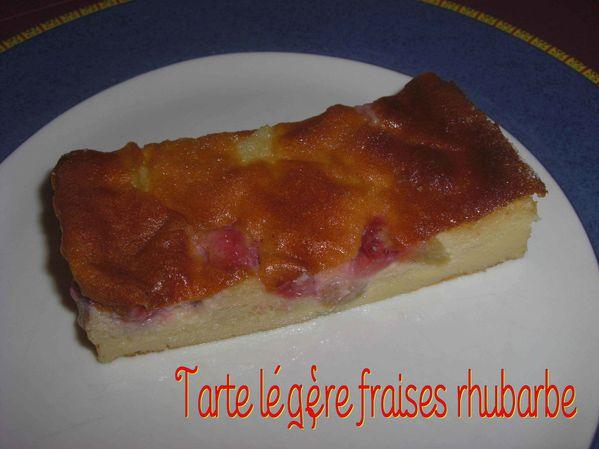 Tarte légère fraises rhubarbe, sans pâte