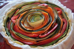 Tarte provençale en spirale (Courgette, Aubergine, poivron et carotte)