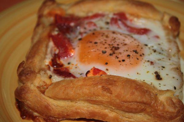 Tartelettes chorizo, poivron et oeuf