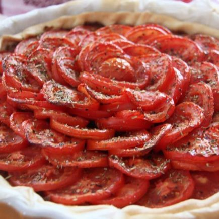 Tartes aux tomates et oignons confits