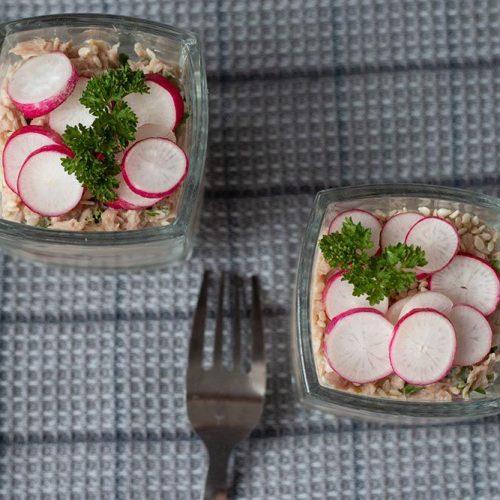 Verrine fraîcheur au thon et aux radis