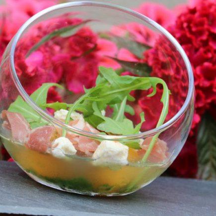 Verrines melon, basilic et jambon de Bayonne (au Thermomix ou sans)