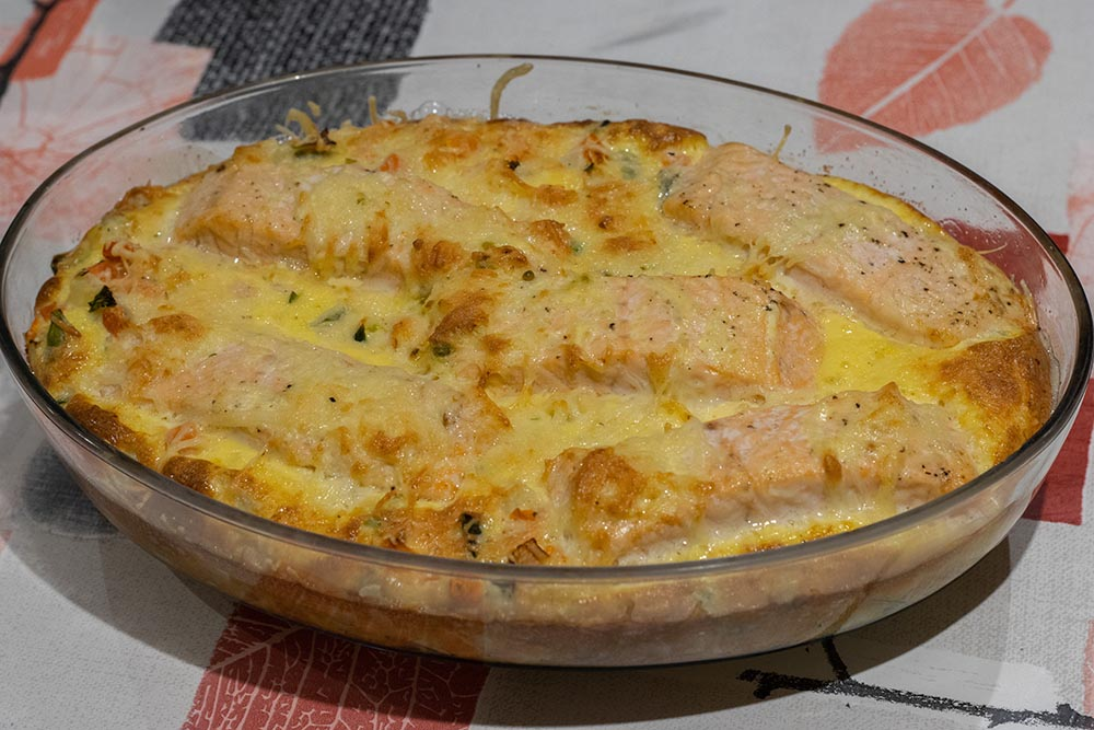 Clafoutis de légumes au saumon