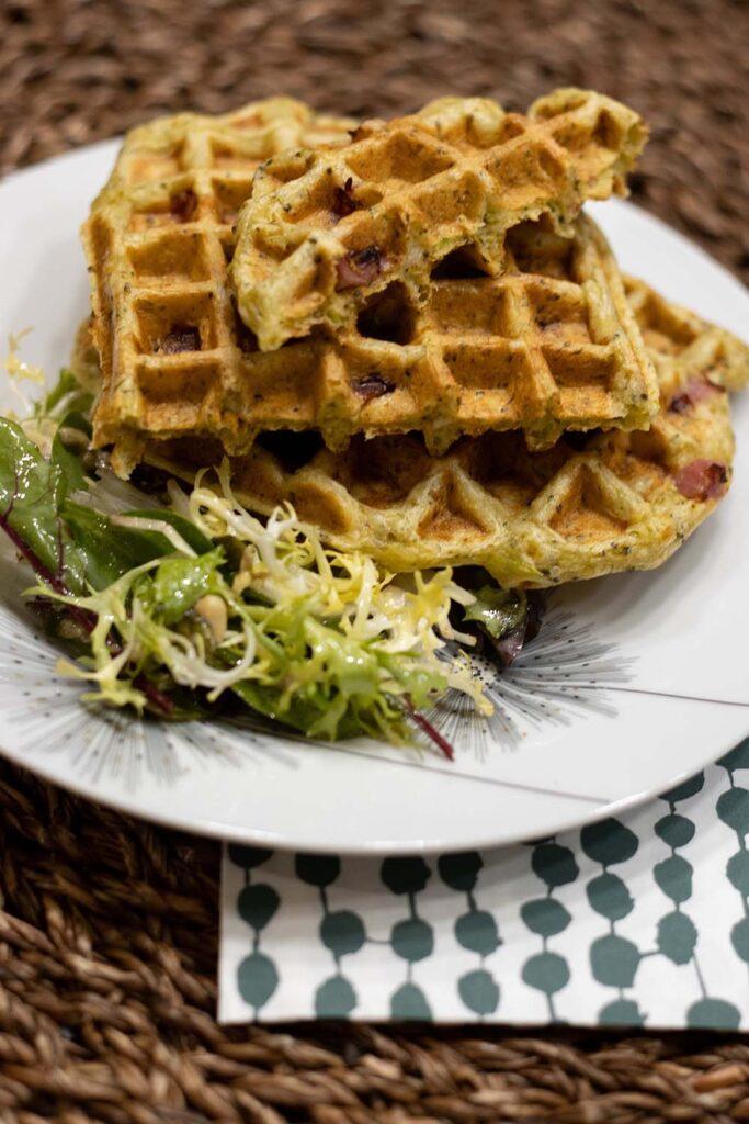 Gaufres aux brocolis et aux dés de jambon 1