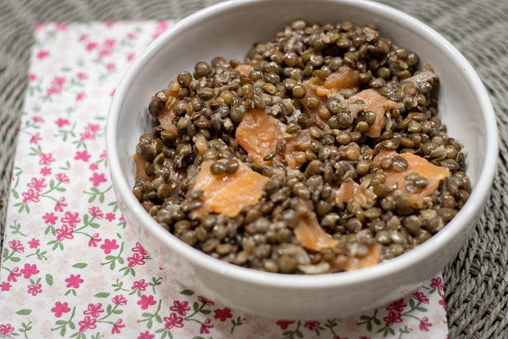 Lentilles et saumon fumé en salade 1
