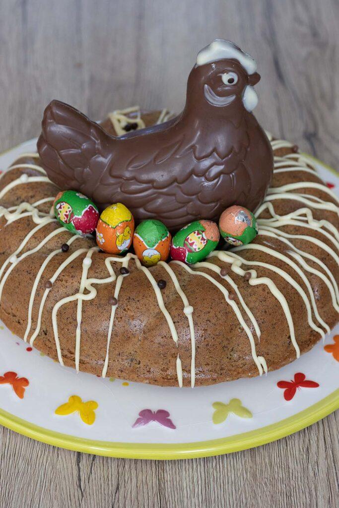 Gâteau italien aux noisettes et au café (sans farine - sans gluten) moule couronne torsadée Demarle gâteau de Pâques 2