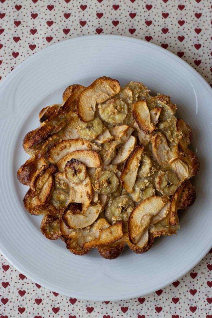 Gâteau léger pommes bananes et flocons d'avoine de Hélène moule marguerite Demarle 2