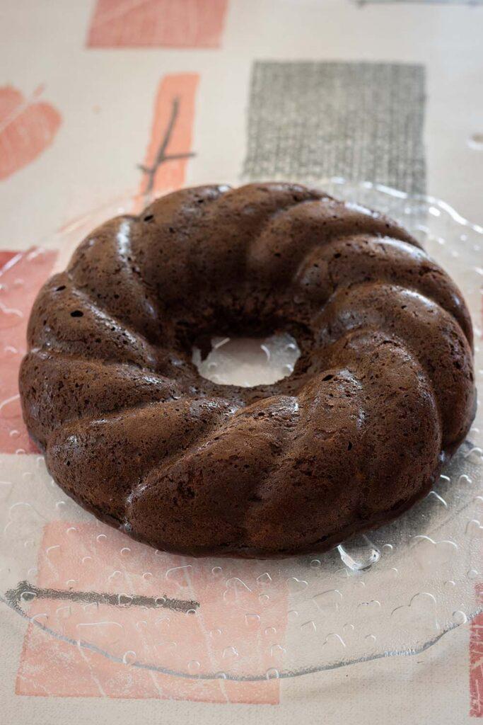 Moelleux chocolat courgettes (sans beurre) moule couronne torsadée Demarle Flexipan 1