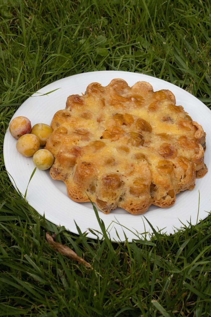Gâteau renversé aux mirabelles moule marguerite Demarle Flexipan 1
