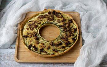 Tarte couronne courgettes, moutarde à l'ancienne tarte couronne Demarle Flexipan