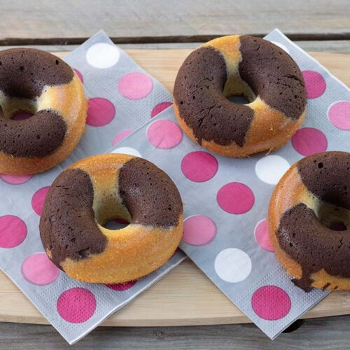 Marbrés chocolat vanille façon Donuts St Michel empreinte Donuts Demarle Flexipan